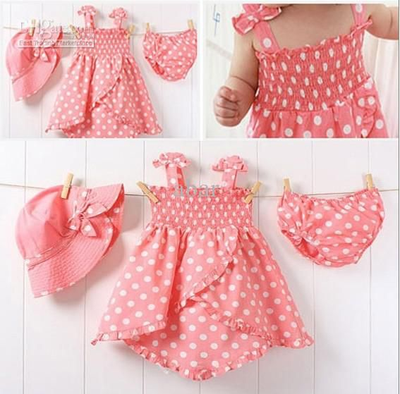 20set/lot Cute baby girl polk dot top dress short pants Hat summer ...
