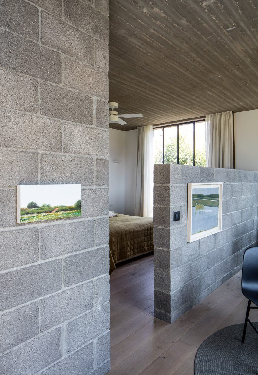 Israeli Architect Couple Use Concrete Blocks To Build Themselves A Home Among Fruit Trees Cinder Block House Concrete Houses Concrete Blocks