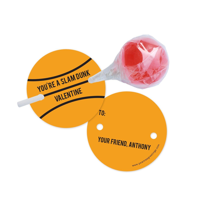 Classroom Valentines Slam Dunk Lollipop Holder Pear Tree