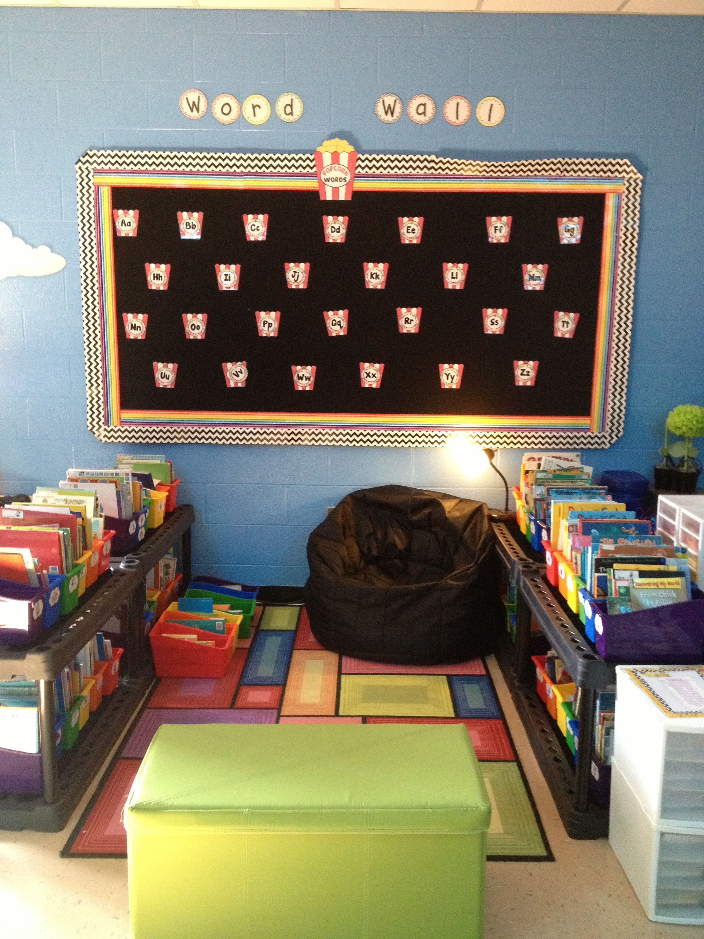 Classroom library and popcorn word wall