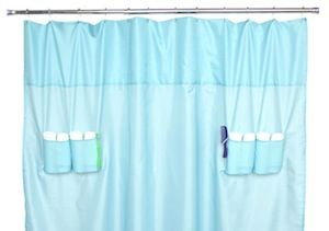 A Nylon Water Resistant Shower Curtain With Drainable Pockets On The Inside And Towel Loops