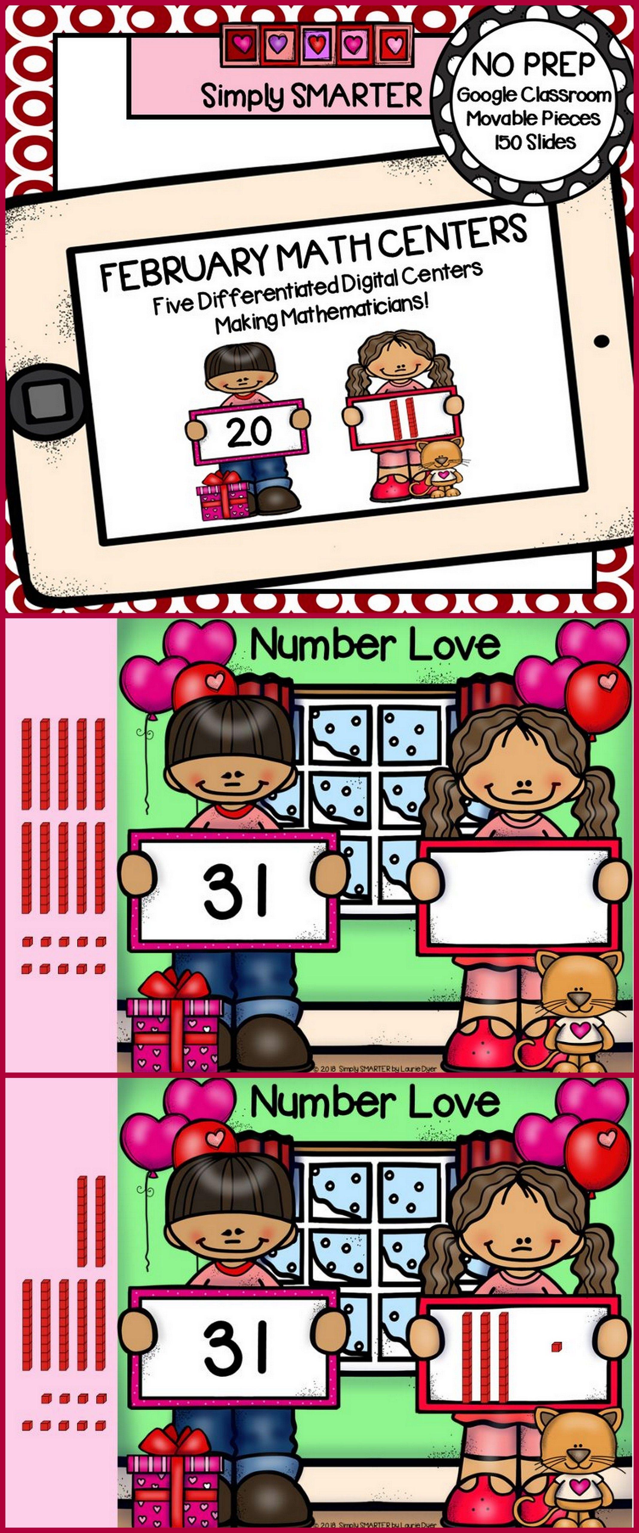 February Kindergarten Digital Math Centers For