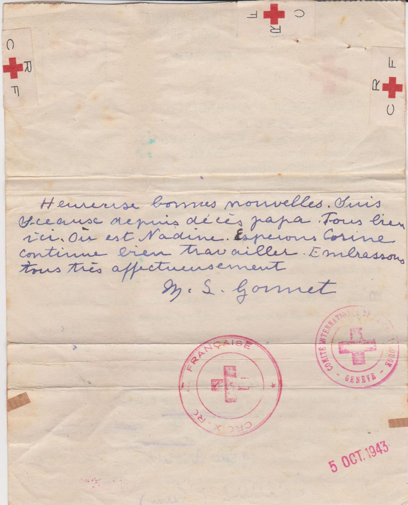 Red Cross Prisoner Of War Correspondence From Algeria To France