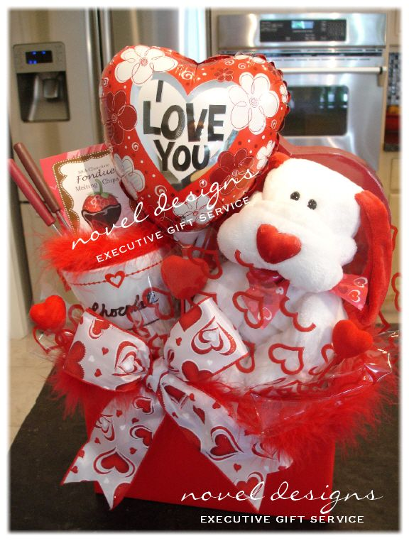 Custom Fondue Chocolate Gift Basket Valentines Day Gift Baskets