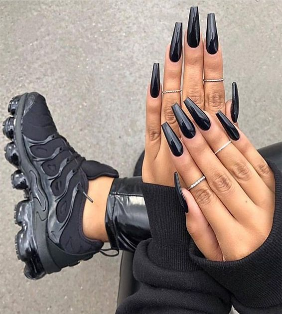 Account Suspended Long Acrylic Nails Black Coffin Nails Black Acrylic Nails