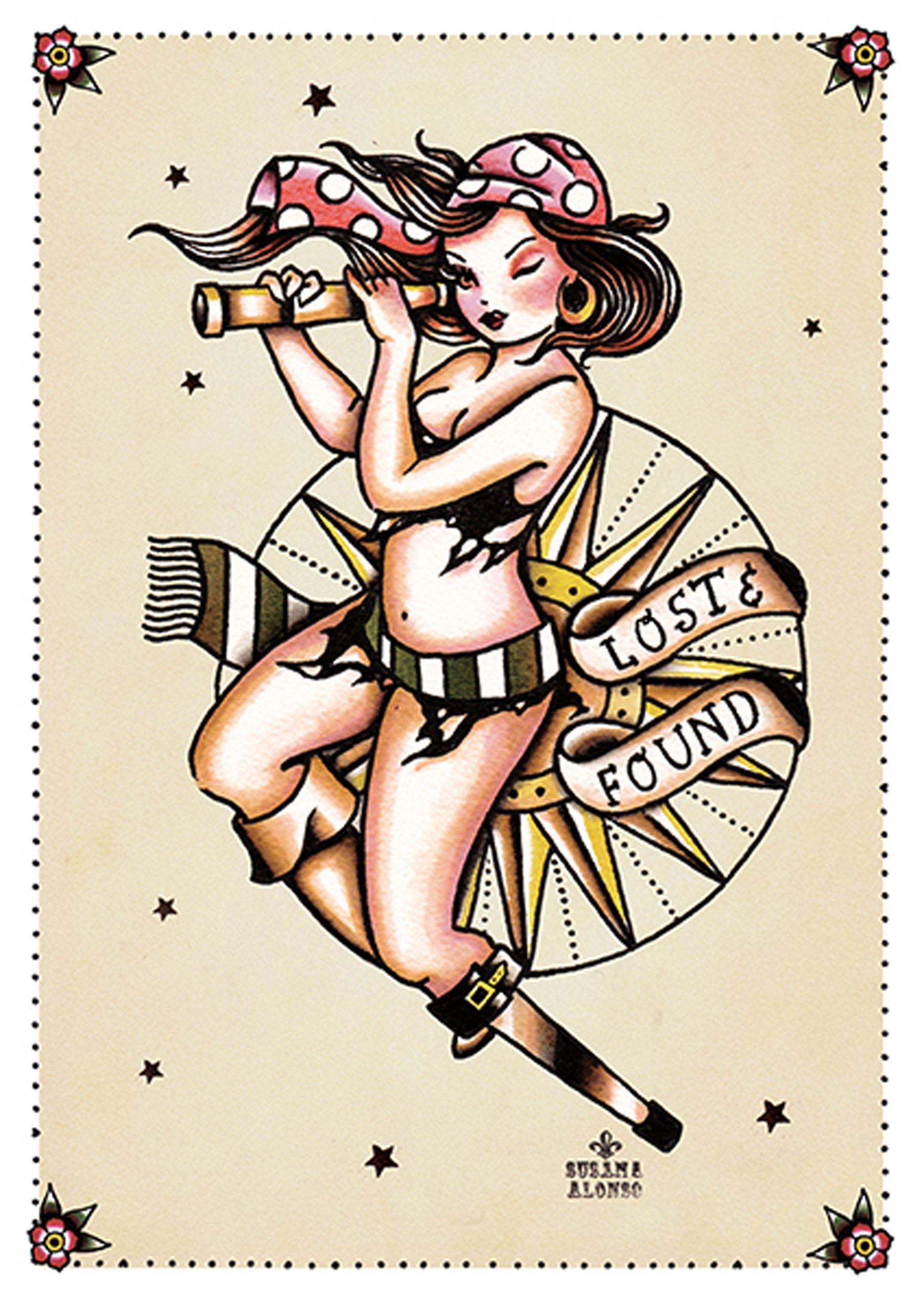 Tattoo old school tatuaggi old school pin up significato e foto quotes - Lost And Found By Susana Alonso Pin Up Girl Tattoo Canvas Art Print