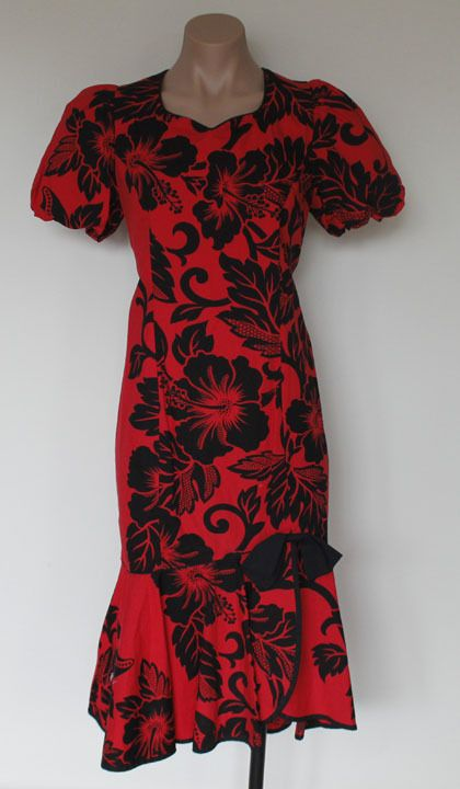 Vtg Lei Aloha Casuals Red Floral Hibiscus Hawaiian Wiggle Dress
