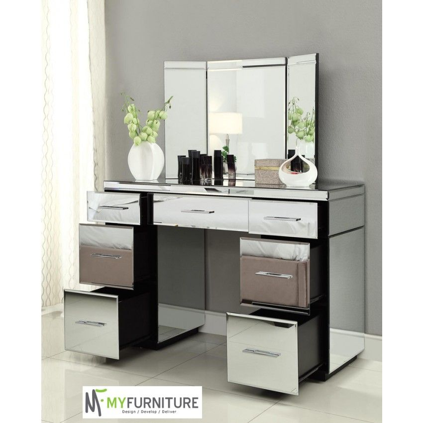 Rio Mirrored Dressing Table Console 7 Drawer Mirror Furniture Desk With Drawers 7 Drawer Dressing Table Mirrored Furniture