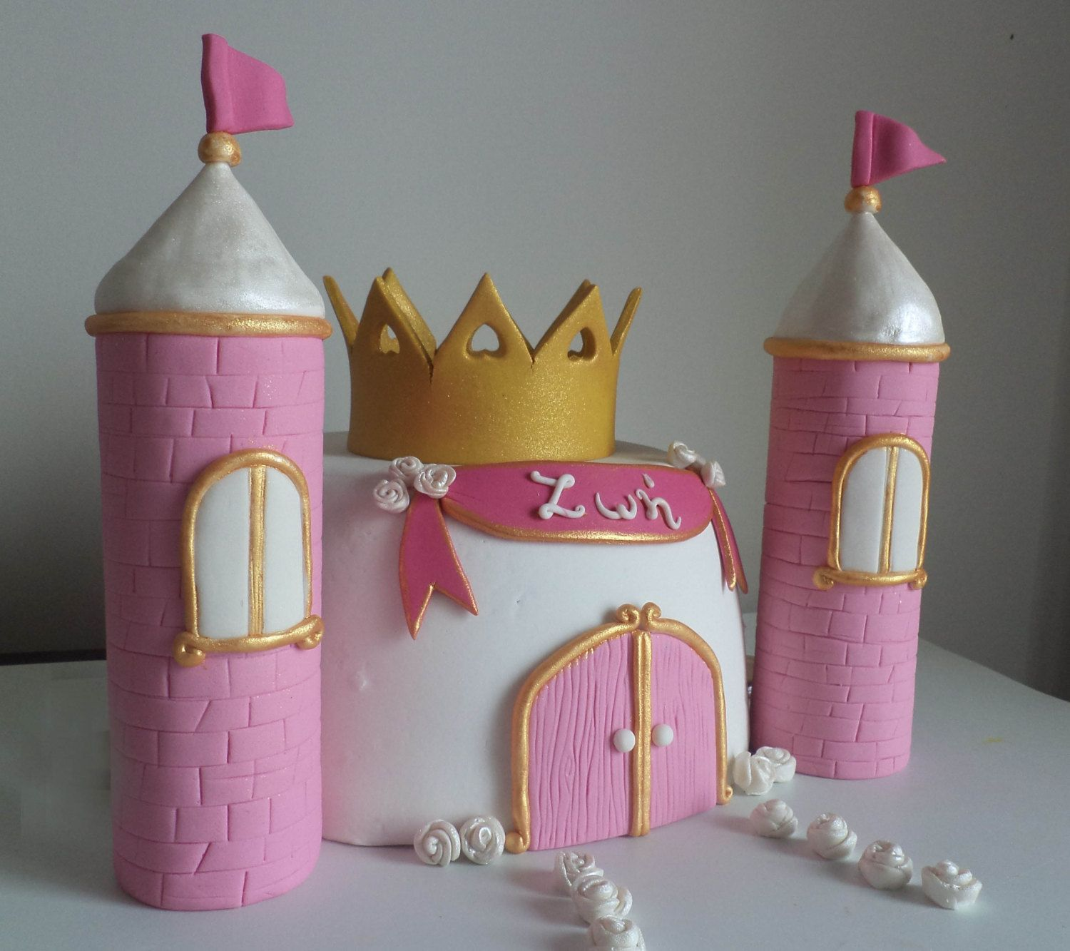 princess name plaque in pink and gold fondant cake topper princess birthday cake decor with shimmering roses