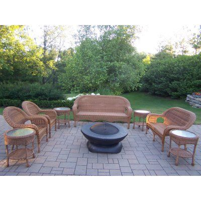 Outdoor Oakland Living All-Weather Wicker Fire Pit Chat Set with Fire Bowl - 90028-8-NT-8055-BK