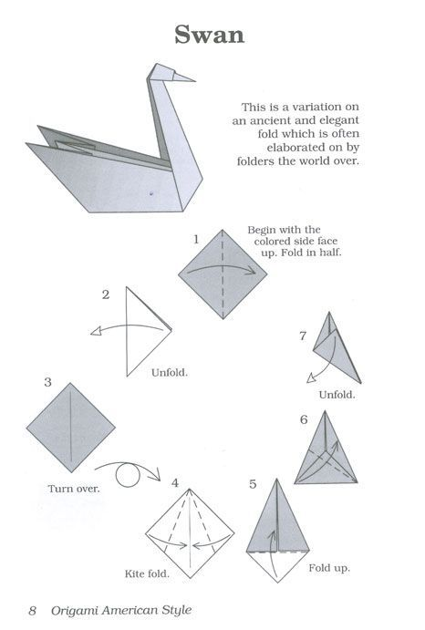 Origami instructions swan images for Origami swan easy step by step