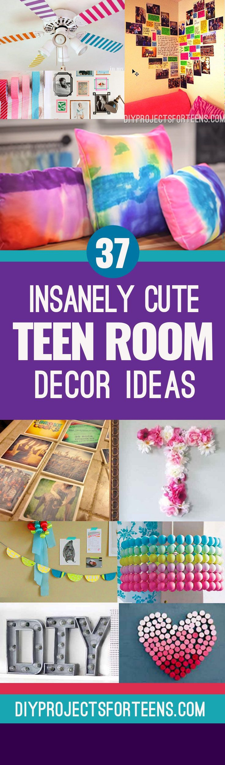 37 Insanely Cute Teen Bedroom Ideas for DIY Decor | Diy room decor ...