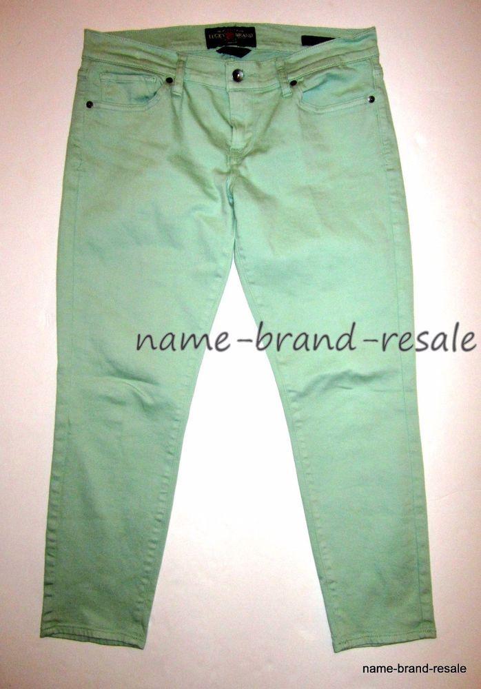 LUCKY BRAND Zoe Straight Crop Jeans Womens 8 29 Mint Green Denim Capris #LuckyBrand #ZoeStraightCrop