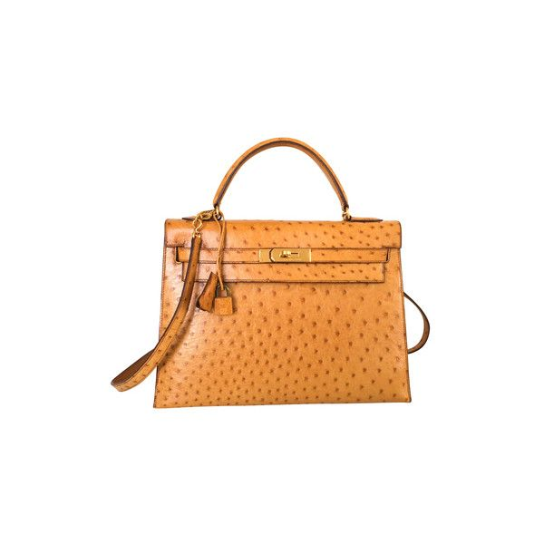 Pre Owned Kelly Bag 32 Ostrich Leather 117 745 Cny Liked On Polyvore Featuring Bags Handbags Brown Brown Leather Handbags Beige Leather Handbag Kelly Bag