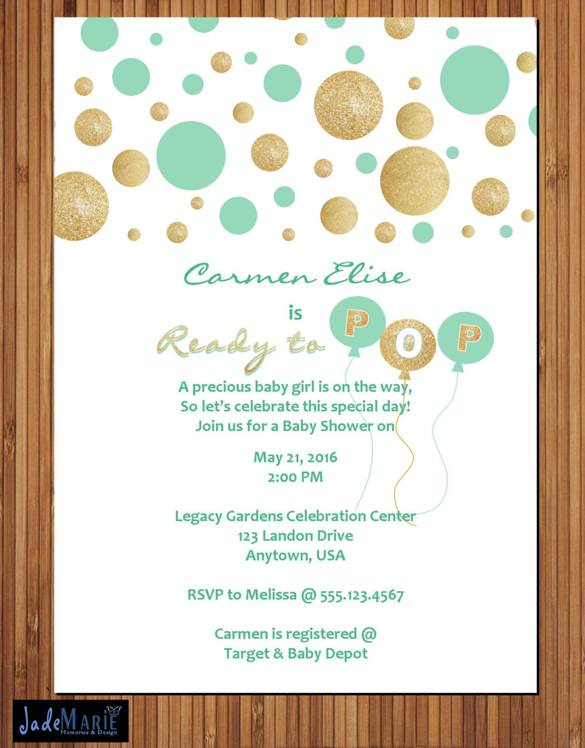 Mint and Gold Ready to Pop Baby Shower Invitation Printable Invite ...