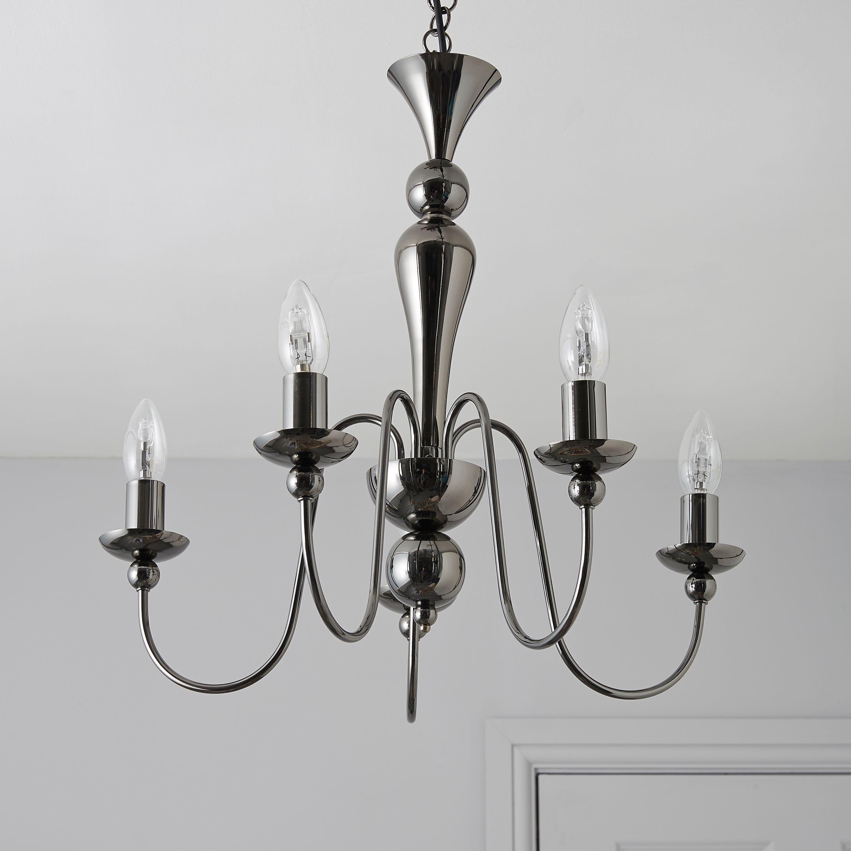 Megan Black Nickel Effect 5 Lamp Pendant Ceiling Light