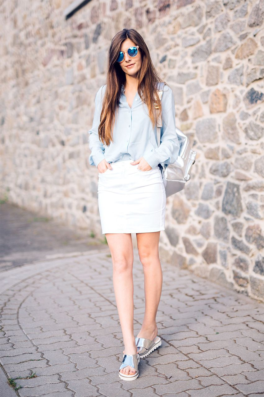 White denim skirt outfit – The most popular models skirts