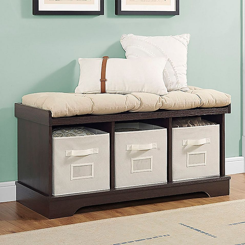 Forest gate 42 contemporary wood storage bench with totes