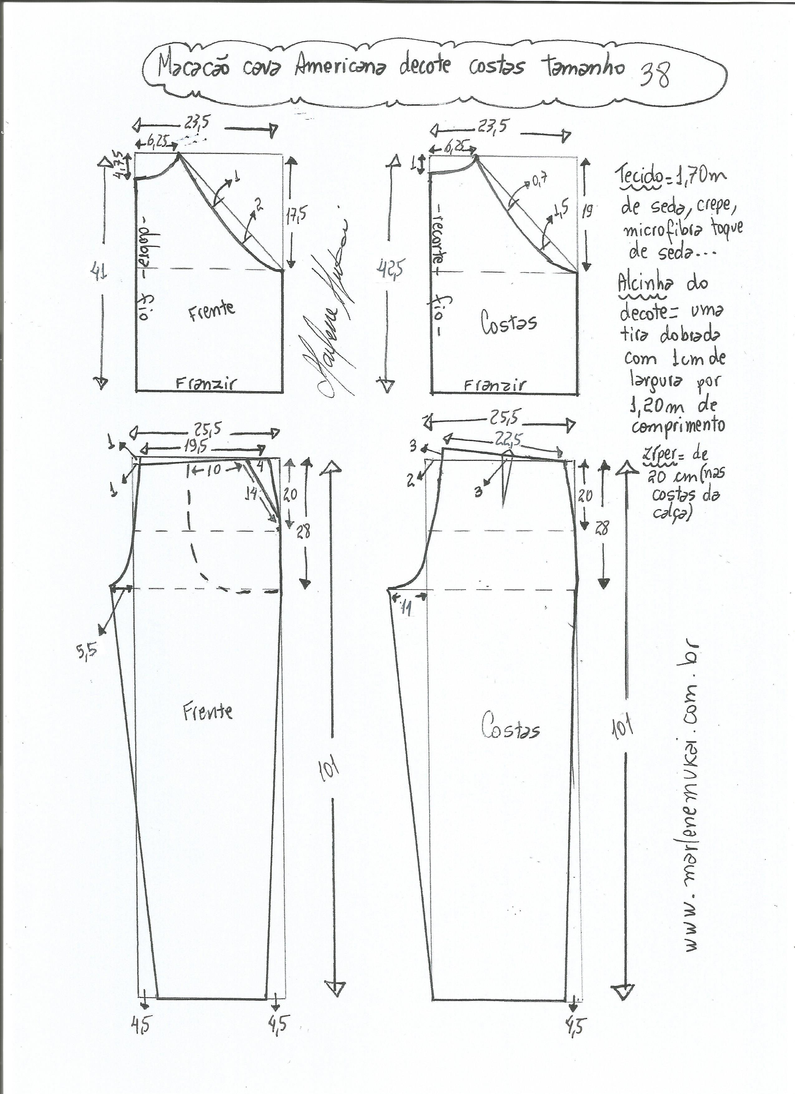 Patrón de mono con sisa americana | pantalones y pijamas | Pinterest ...