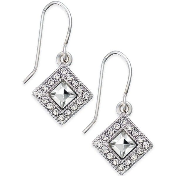 Lauren Ralph Lauren Rhodium Plated Faceted Square Drop Earrings ($16) ❤ liked on Polyvore featuring jewelry, earrings, white, white drop earrings, drop earrings, facet jewelry, round drop earrings and rhodium plated earrings