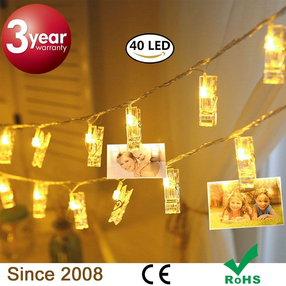 40 LED Party Lights Photo Clips ,Holiday String Lights, Battery ...