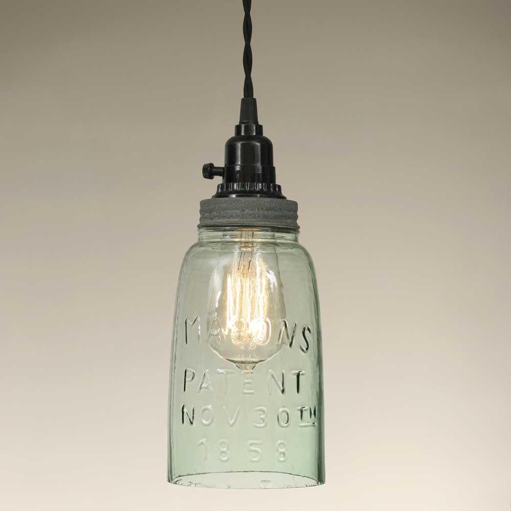 Hallway lighting no outlet  Half Gallon Open Bottom Mason Jar Pendant Lamp  Barn Roof  Pendant