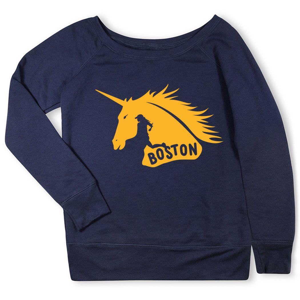42f0bdd5747 Running Fleece Wide Neck Sweatshirt - Boston Spirit - Runner Girl ...