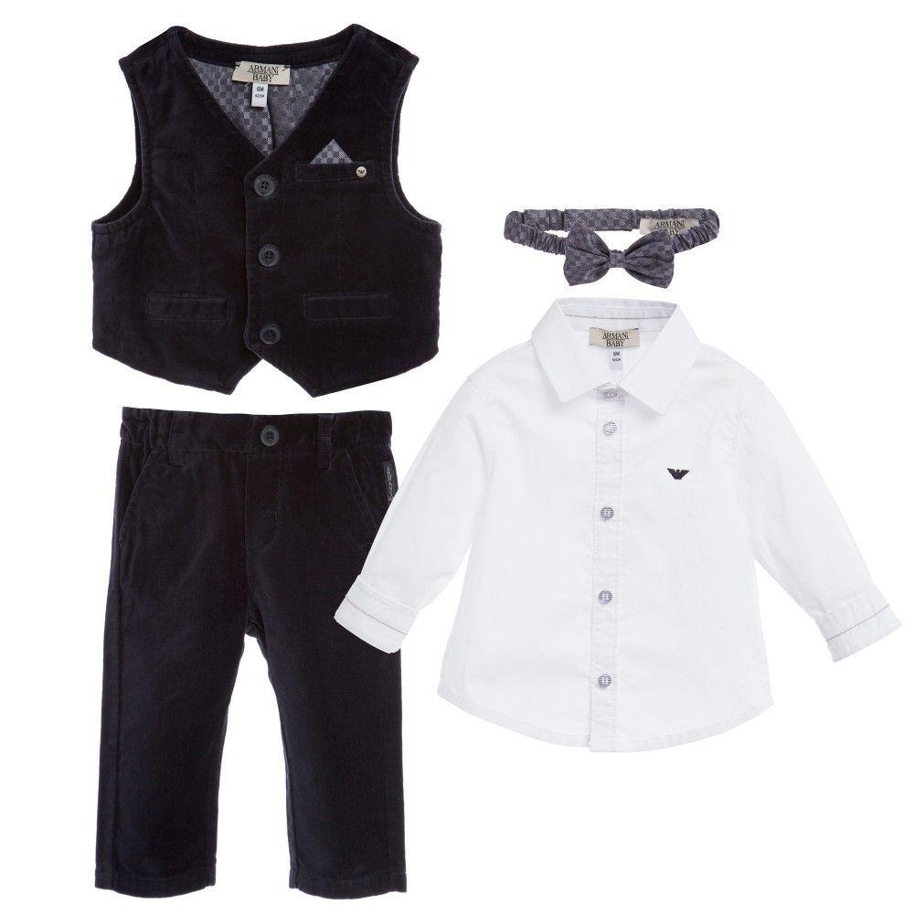 317f4da7c4c Armani Baby boys four piece smart suit set. In navy blue velvet, it has