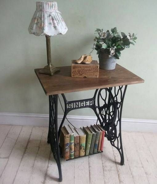 22 Reuse And Recycle Ideas To Create Small Tables With Vintage Sewing Machines Old Sewing Machines Home Decor Accessories Sewing Table