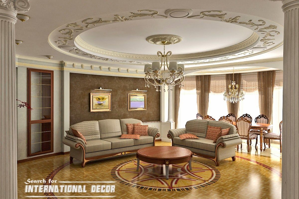 Interior, Fancy Bright Hall With Deluxe Classy Sofa Design Ideas Plus  Excellent Round Drop Ceiling Artwork Curved Design ~ Elegant Classic  Interior Design ...