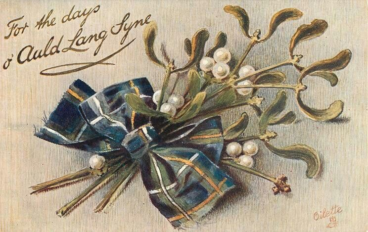 Auld Lang Syne Vintage happy new year, Tartan, Mistletoe