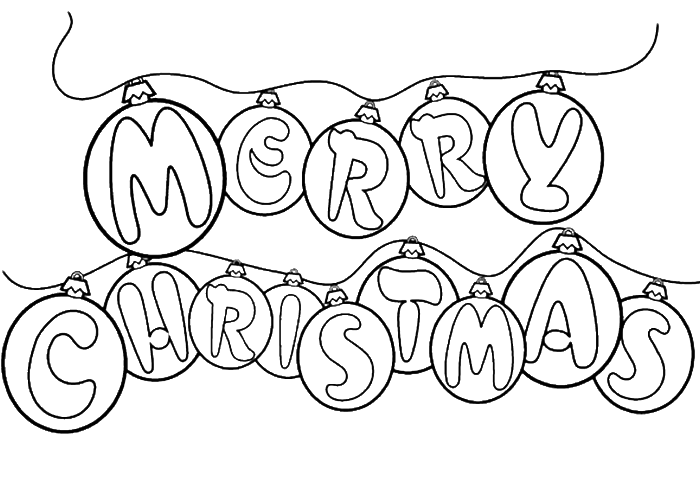 nice christmas coloring pages - merry christmas or with a nice decoration coloring page