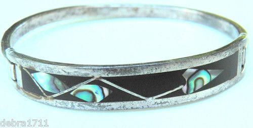 Vintage Sterling Silver 925 Bracelet Bangle Hinged Onyx Abalone Mexico 17 1g | eBay