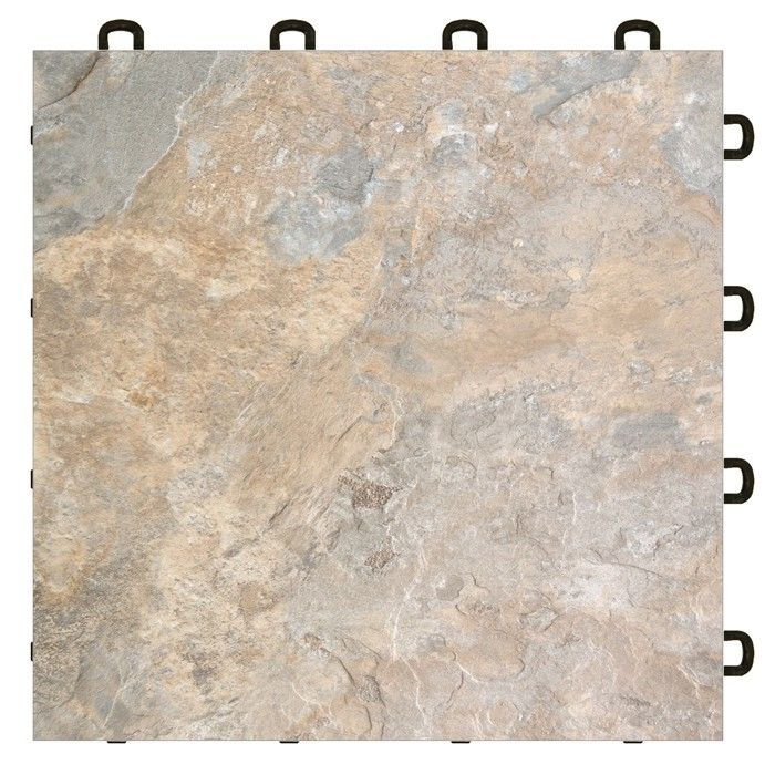 Light Slate Vinyl Laminate Interlocking Floor Tiles