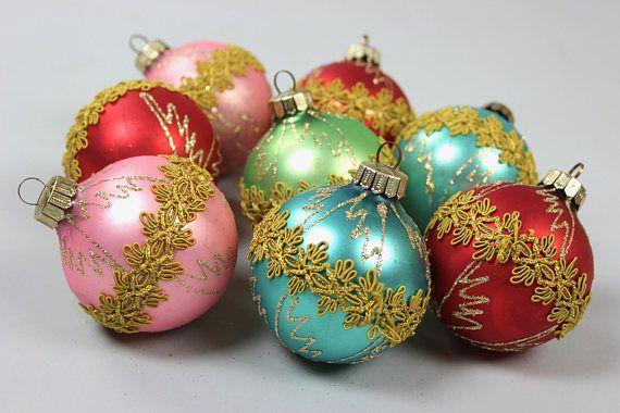 8 Antike Weihnachts Kugeln, Christbaumschmuck, Vintage Weihnachtsschmuck  Gold Glimmer Germany 60er Jahre Schöne,
