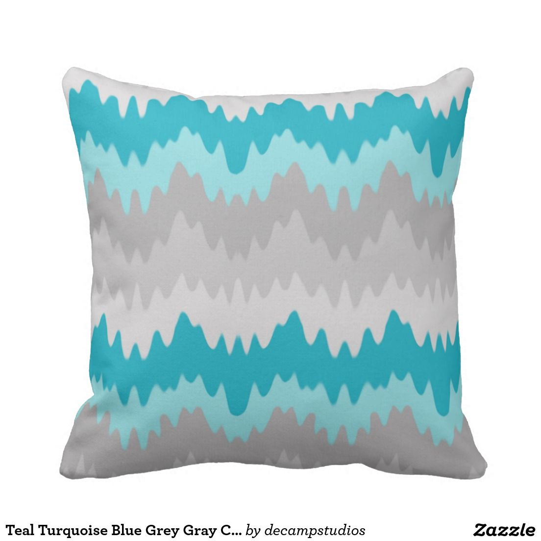 Teal Turquoise Blue Grey Gray Chevron Ombre Fade