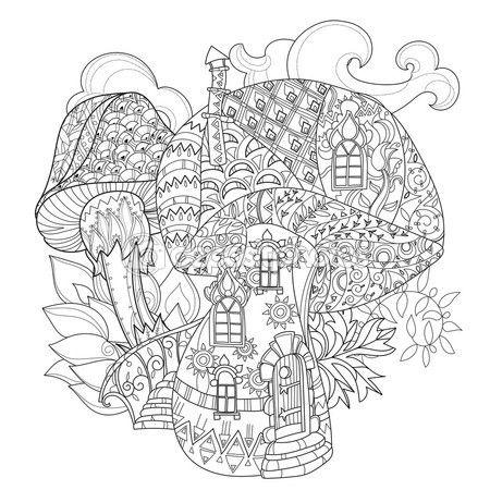 Hongos mágicos de doodle dibuja contorno de la mano — Vector de ...
