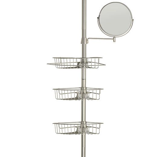 Brushed Nickel Bathroom Shelving Unit: Exquisite 3 Shelf Tension Pole For Shower With Mirror No
