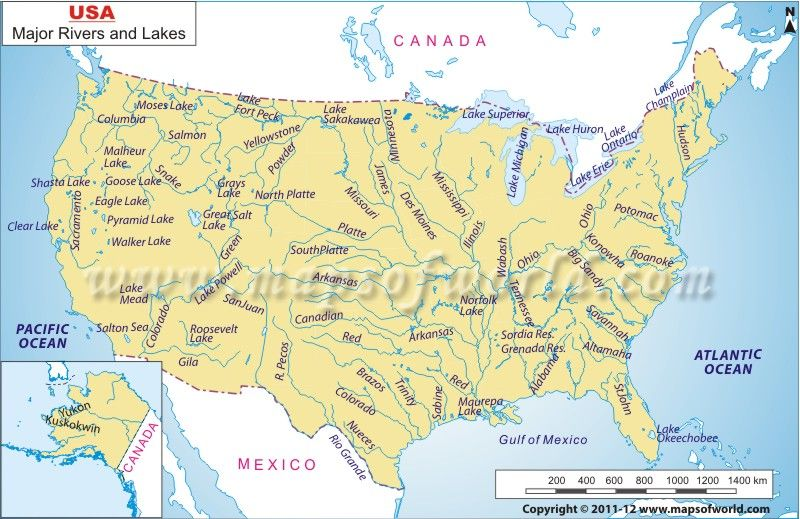 USA River Map | Geographillaneous | United states map, State ...
