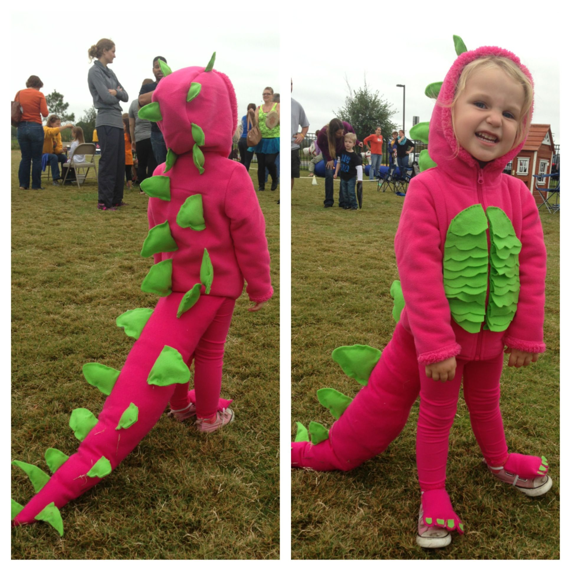Pink DIY dinosaur costume. Hoodie and leggings from Walmart. I ...