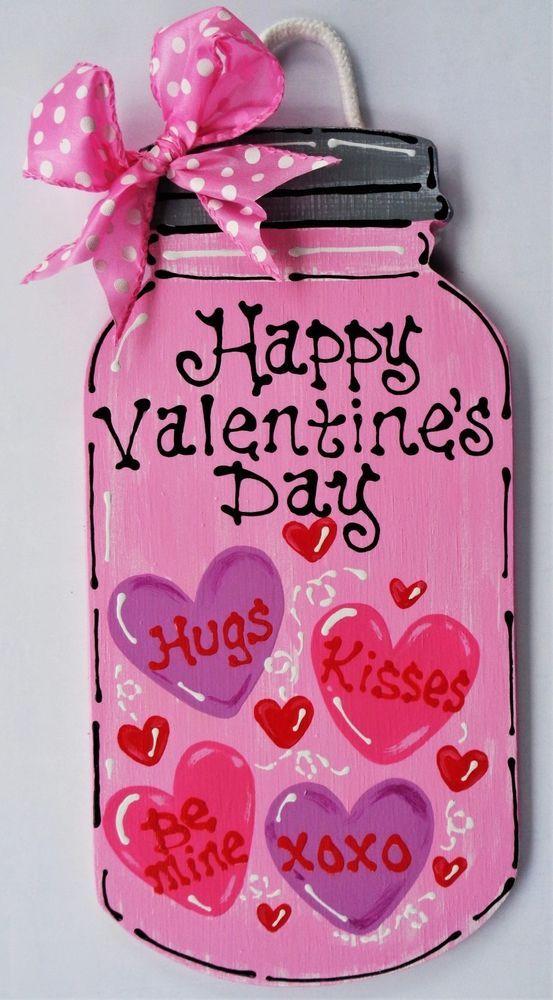 HAPPY VALENTINEu0027S DAY Mason Jar SIGN Wall Art Door Hanger Hanging Plaque  Holiday