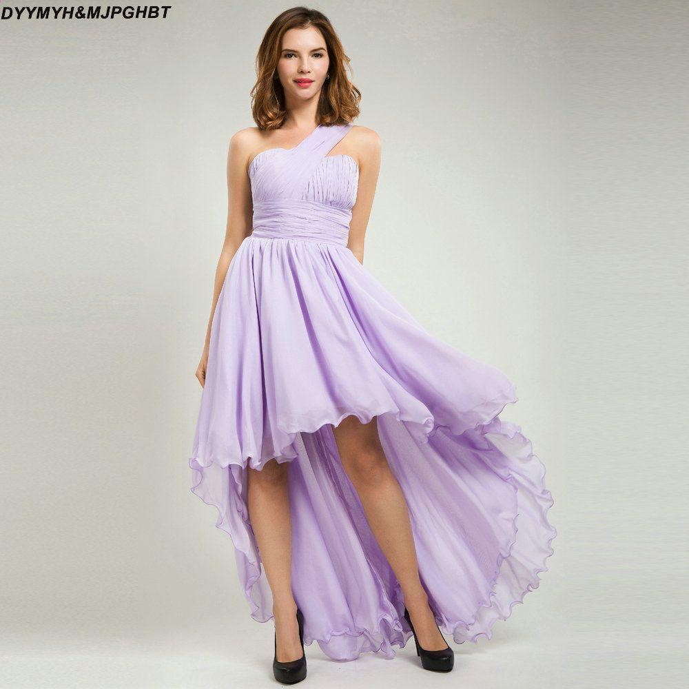 Elegante One Strap Asymmetrische Brautjungfer Kleider Falte Top ...