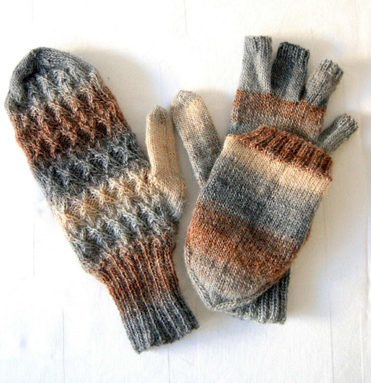 Glittens, Flip Down Cabrio Handschuhe - Grau - kann individuell konfektioniert werden von InheritanceDesigns auf Etsy