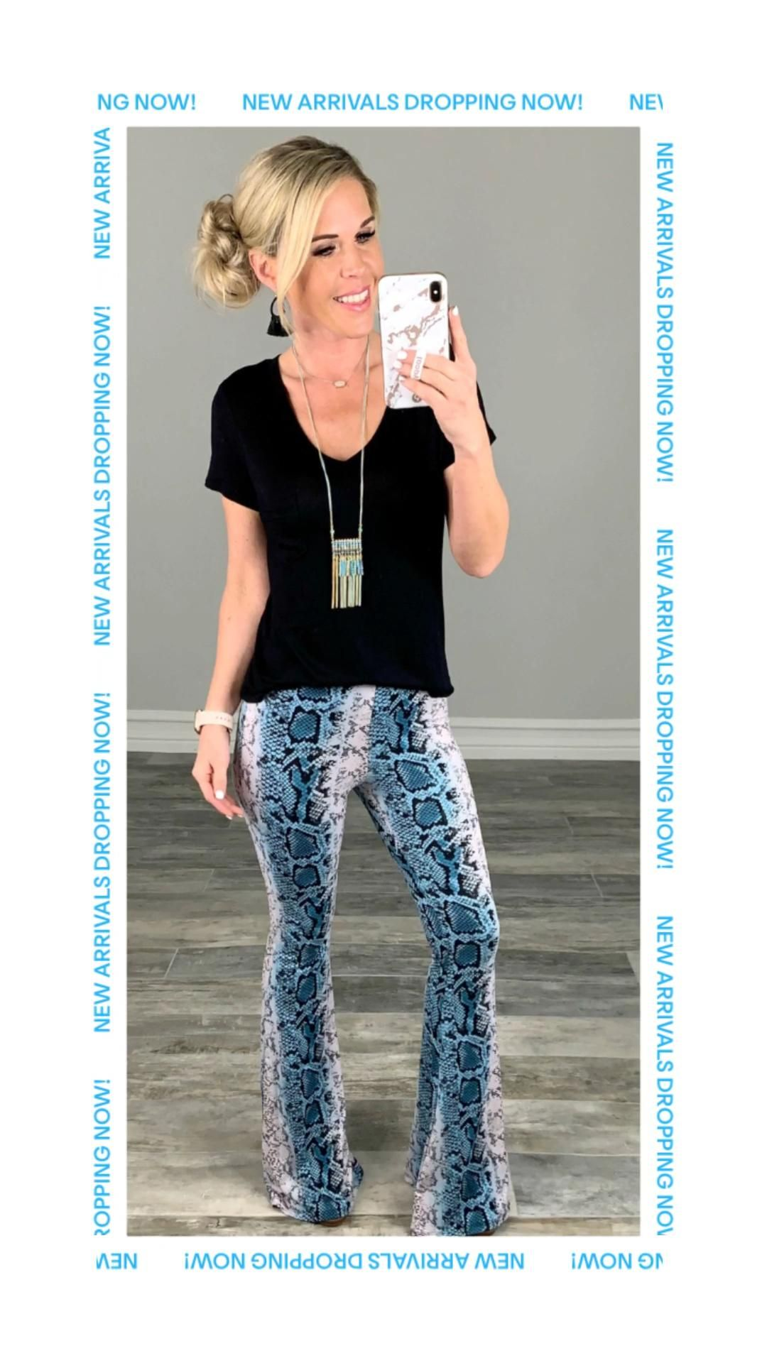 Never Grow Up Snake Print Flare Pants - Blue - privityboutique -   18 fall outfits 2020 for women over 50 ideas