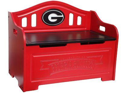 UGA Georgia Bulldogs Wooden Toy Box Storage Bench