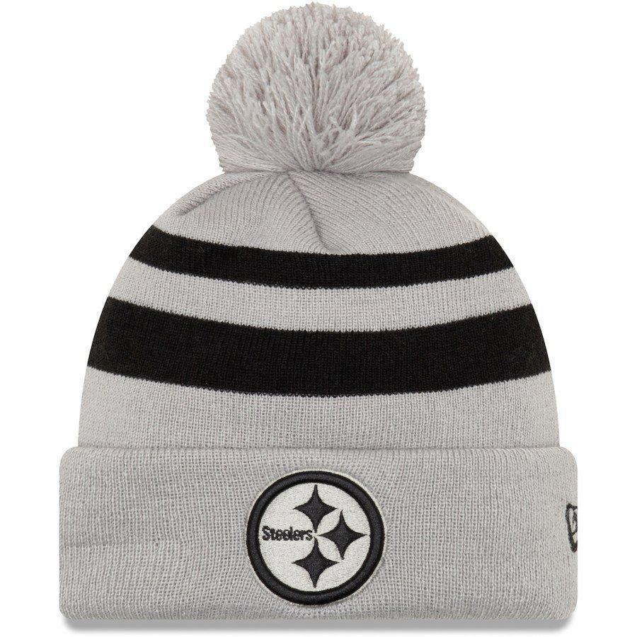 c1003a0ee08ef Men s Pittsburgh Steelers New Era Gray Rebound Pom Cuffed Knit Hat ...