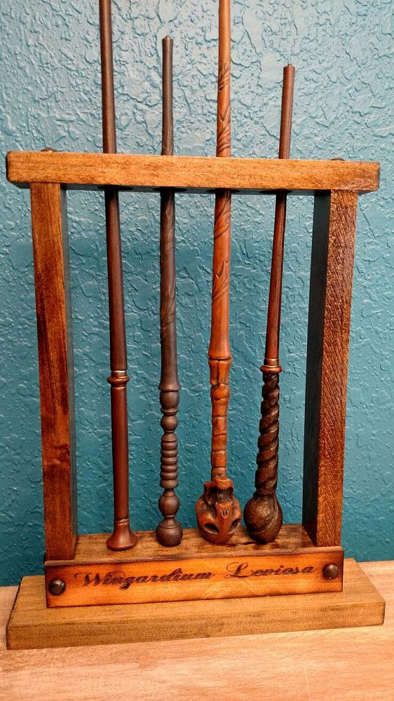Potter wand display magic wand holder holds 4 by for Elder wand display