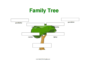A simple, full-color, three-generation family tree with large ...
