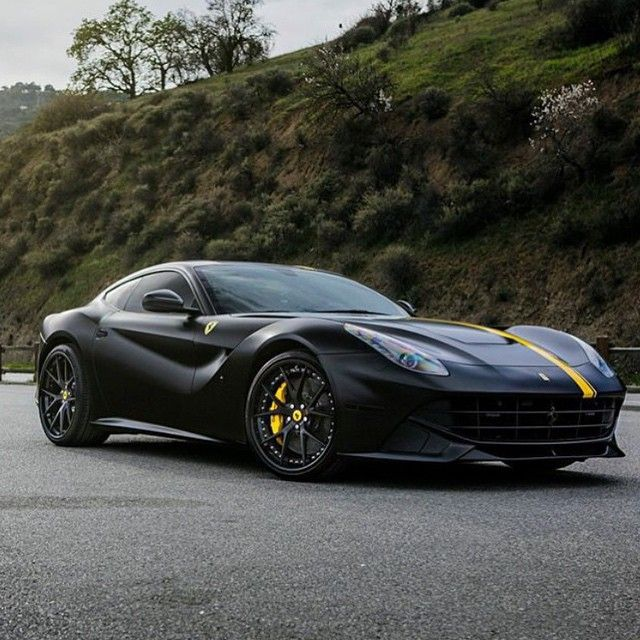 Kik Carswithoutlimits On Instagram Black Yellow Ferrari F12 Berlinetta Wrapped By Caliwheels On Rsvforged Ferrari F12berlinetta Black N Yellow Ferrari