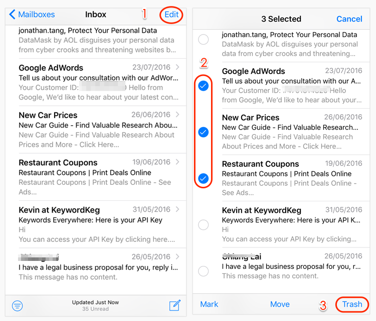 How to Delete All Emails on iPhone/iPad At Once Ipad one
